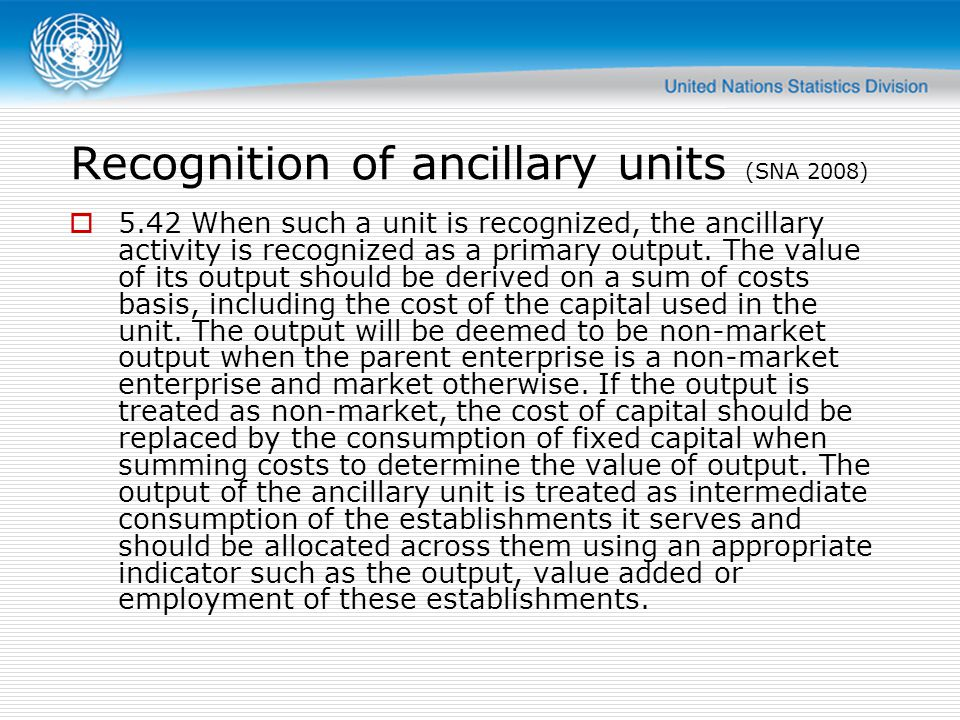 Recognition of ancillary units (SNA 2008) 5.42 When such a unit is recognized, the ancillary activity is recognized as a primary output. The value of