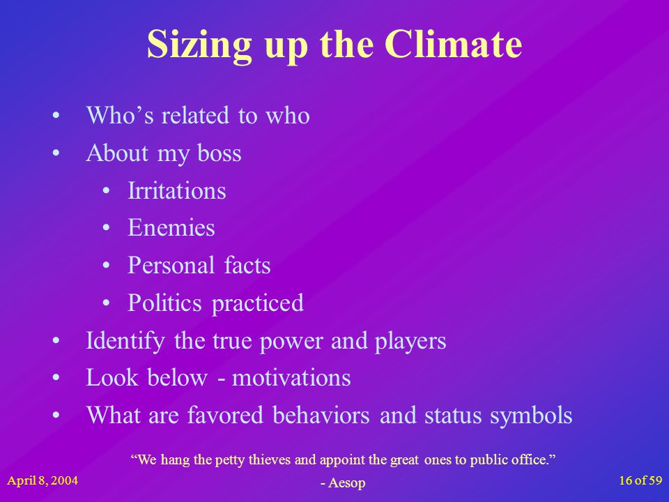 April 8, 200416 of 59 Sizing up the Climate Whos related to who About my boss Irritations Enemies Personal facts Politics practiced Identify the true