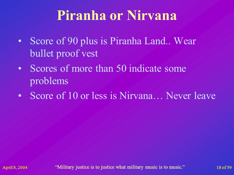 April 8, 200418 of 59 Piranha or Nirvana Score of 90 plus is Piranha Land.. Wear bullet proof vest Scores of more than 50 indicate some problems Score
