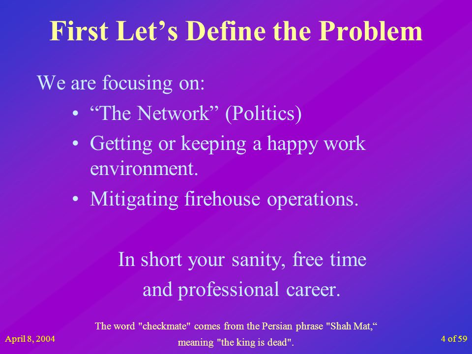 April 8, 20045 of 59 Topics Politics are real and unavoidable How political are you About political types How to size up the political climate Rising above it all 9 Habits of Politically Savvy People Winning strategies Business Documents Ten percent of the Russian government s income comes from the sale of vodka.