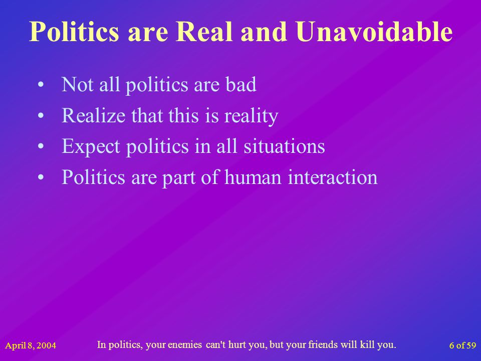April 8, 200417 of 59 Whats Your Corporate Climate Answer the question with your first impression Think most of the time when answering Democracy is a device that insures we shall be governed no better than we deserve.
