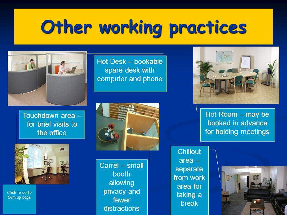 Click to go to Sum up page Other working practices Hot Desk – bookable spare desk with computer and phone Touchdown area – for brief visits to the office Carrel – small booth allowing privacy and fewer distractions Chillout area – separate from work area for taking a break Hot Room – may be booked in advance for holding meetings