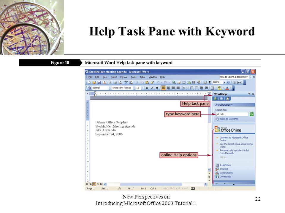 XP New Perspectives on Introducing Microsoft Office 2003 Tutorial 1 23 Search Results Task Pane and Help Window