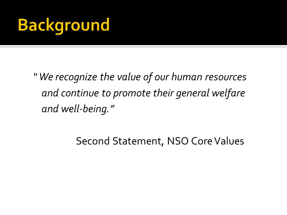 We recognize the value of our human resources and continue to promote their general welfare and well-being.
