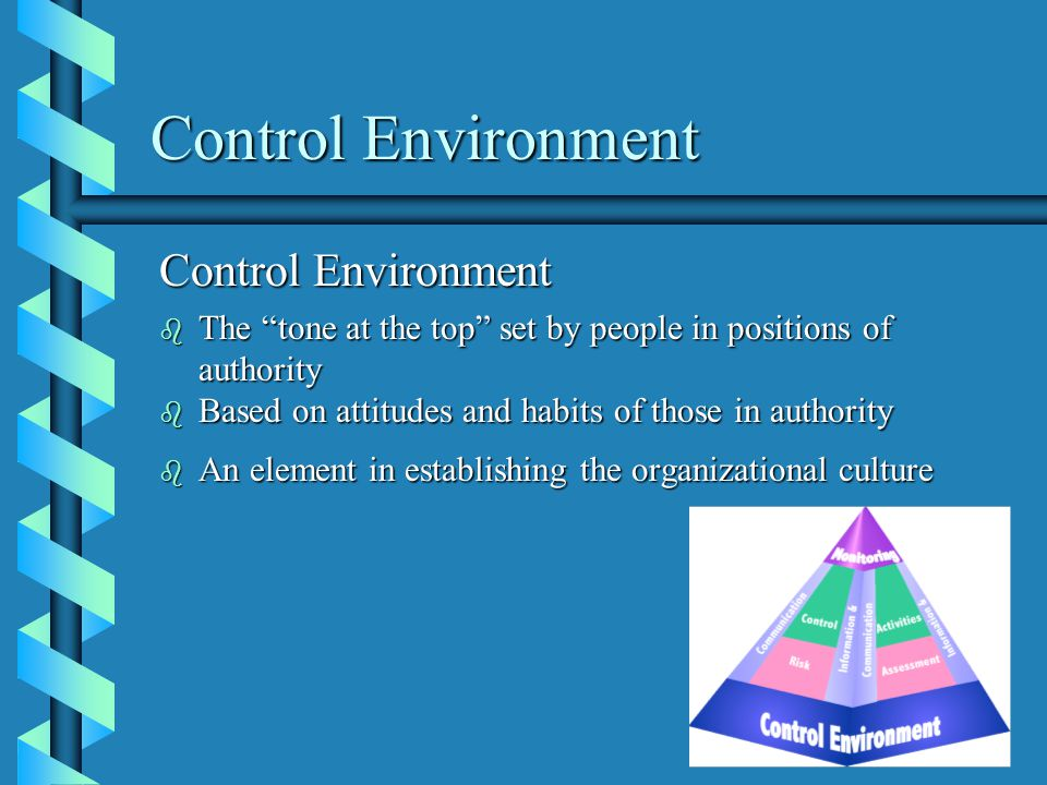 Control Environment b The tone at the top set by people in positions of authority b Based on attitudes and habits of those in authority b An element in establishing the organizational culture