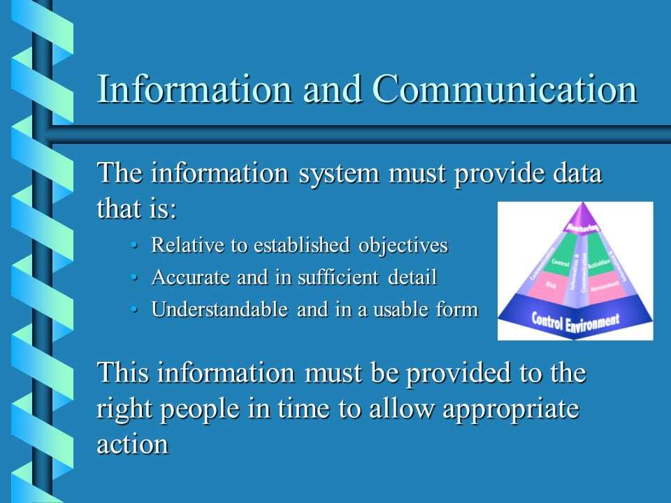 Information and Communication The information system must provide data that is: Relative to established objectivesRelative to established objectives Accurate and in sufficient detailAccurate and in sufficient detail Understandable and in a usable formUnderstandable and in a usable form This information must be provided to the right people in time to allow appropriate action