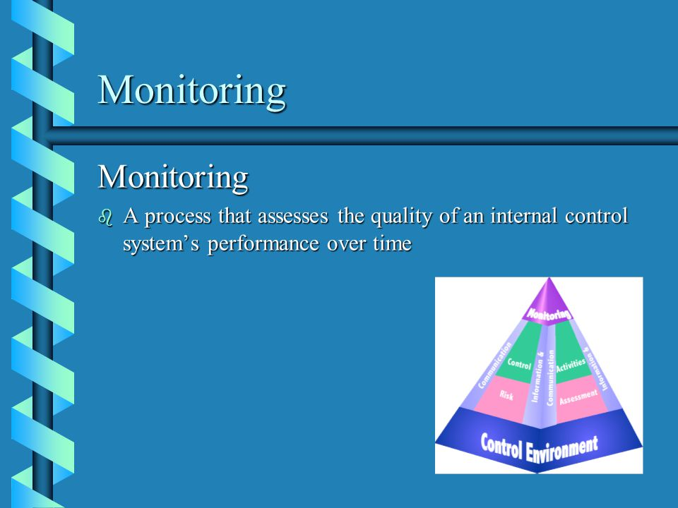 Monitoring Monitoring b A process that assesses the quality of an internal control systems performance over time