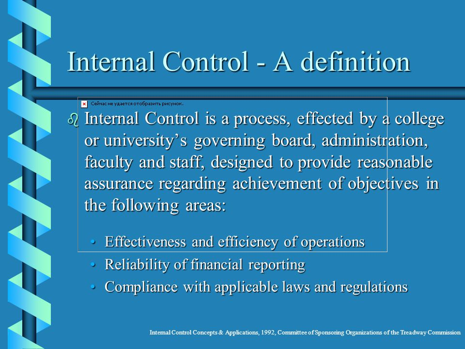 Internal Control - A definition b Internal Control is a process, effected by a college or universitys governing board, administration, faculty and staff, designed to provide reasonable assurance regarding achievement of objectives in the following areas: Effectiveness and efficiency of operationsEffectiveness and efficiency of operations Reliability of financial reportingReliability of financial reporting Compliance with applicable laws and regulationsCompliance with applicable laws and regulations Internal Control Concepts & Applications, 1992, Committee of Sponsoring Organizations of the Treadway Commission