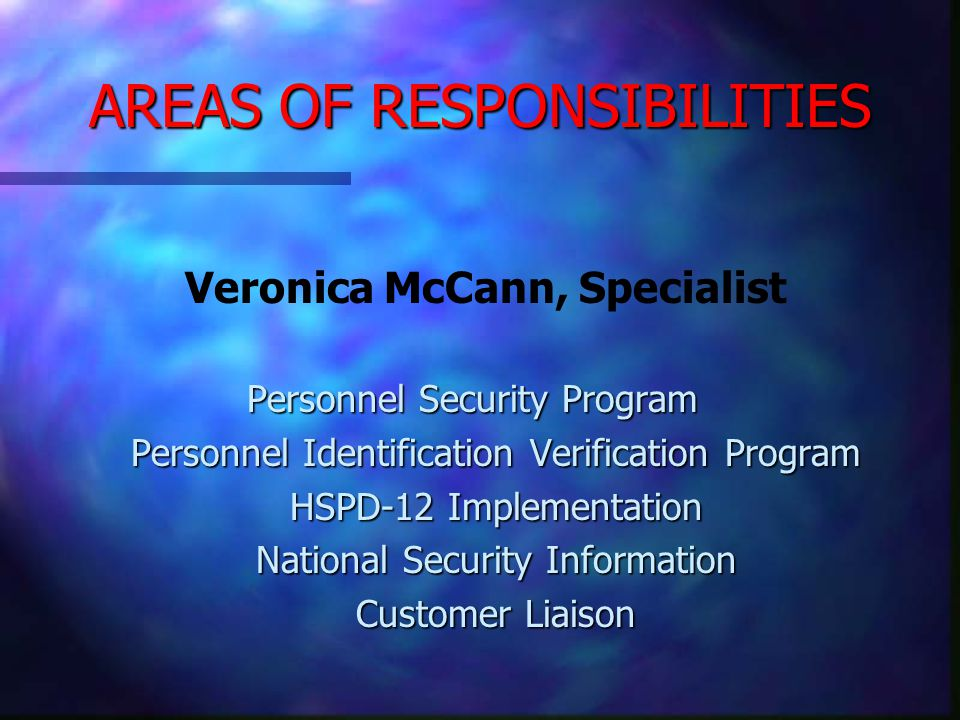 80 YEARS OF STAFF EXPERIENCE Veronica McCann WRSO Security Specialist 20 years experience with US Army 2 year as Security Specialist with DOC