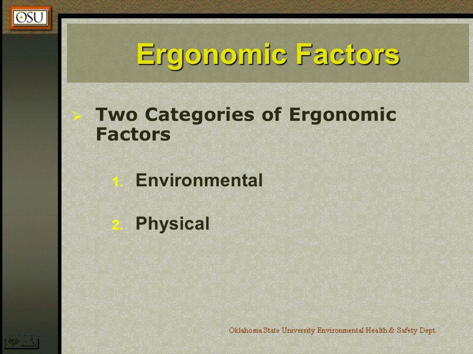 Ergonomic Factors Two Categories of Ergonomic Factors 1. Environmental 2. Physical
