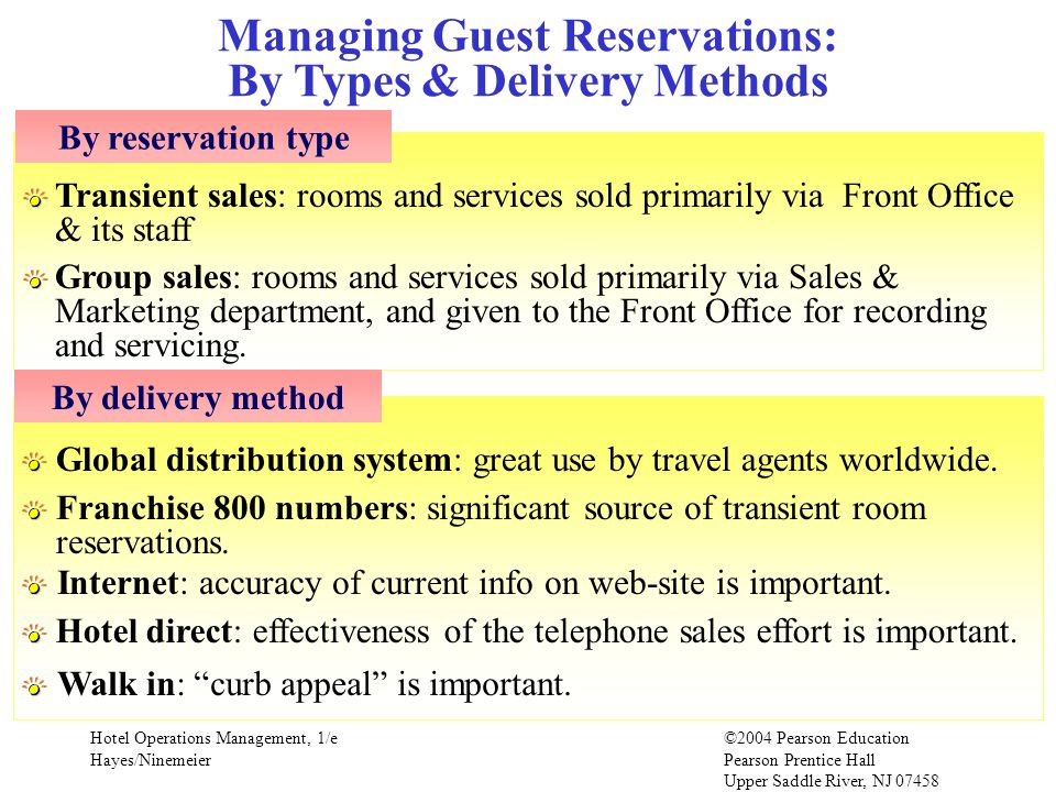 Hotel Operations Management, 1/e©2004 Pearson Education Hayes/Ninemeier Pearson Prentice Hall Upper Saddle River, NJ 07458 Managing Guest Reservations
