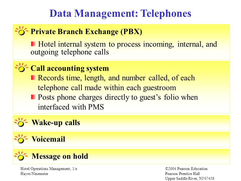 Hotel Operations Management, 1/e©2004 Pearson Education Hayes/Ninemeier Pearson Prentice Hall Upper Saddle River, NJ 07458 Private Branch Exchange (PBX) Hotel internal system to process incoming, internal, and outgoing telephone calls Data Management: Telephones Call accounting system Records time, length, and number called, of each telephone call made within each guestroom Posts phone charges directly to guests folio when interfaced with PMS Wake-up callsVoicemailMessage on hold