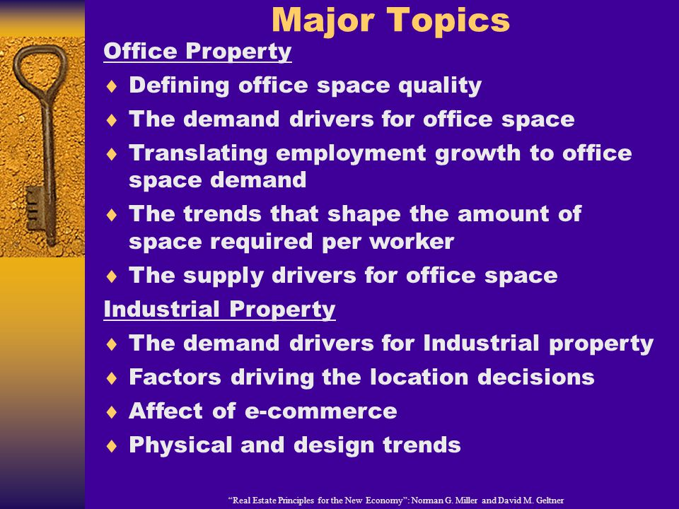 Major Topics Real Estate Principles for the New Economy: Norman G.