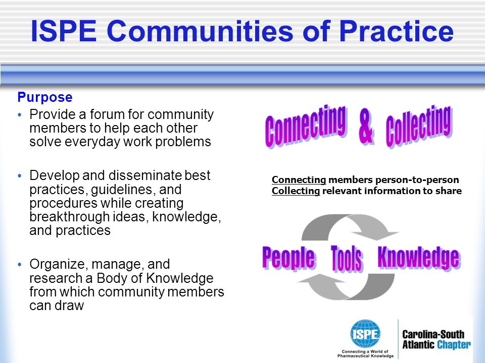 ISPE Communities of Practice Purpose Provide a forum for community members to help each other solve everyday work problems Develop and disseminate bes
