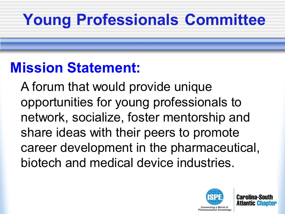 Young Professionals Committee Mission Statement: A forum that would provide unique opportunities for young professionals to network, socialize, foster