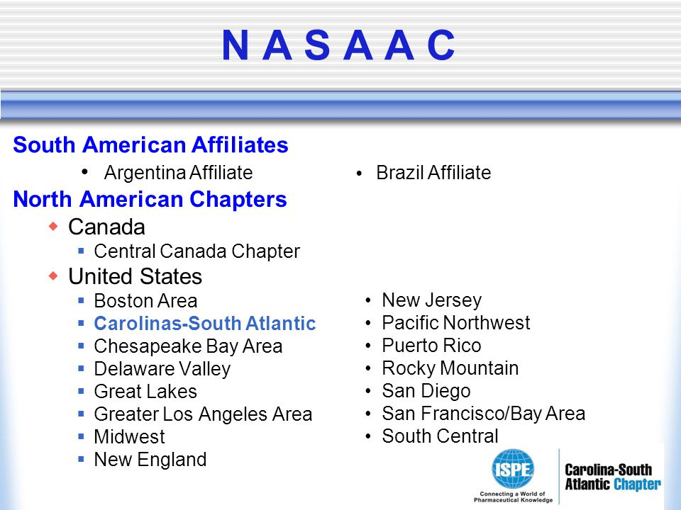 N A S A A C North American Chapters Canada Central Canada Chapter United States Boston Area Carolinas-South Atlantic Chesapeake Bay Area Delaware Vall
