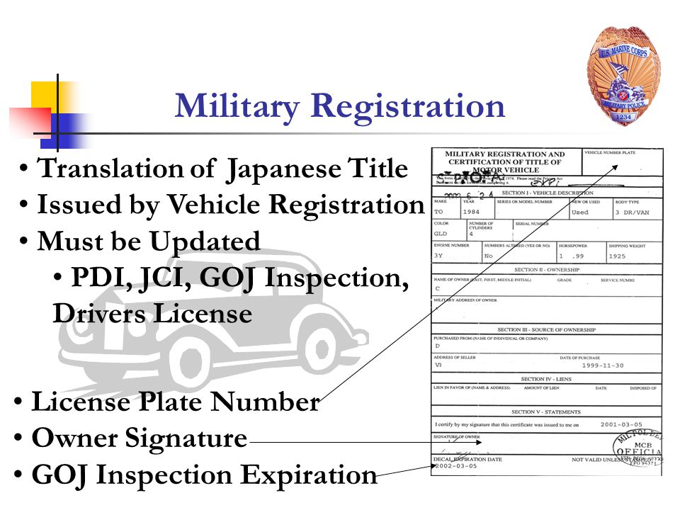 Military Registration License Plate Number Owner Signature GOJ Inspection Expiration Translation of Japanese Title Issued by Vehicle Registration Must be Updated PDI, JCI, GOJ Inspection, Drivers License