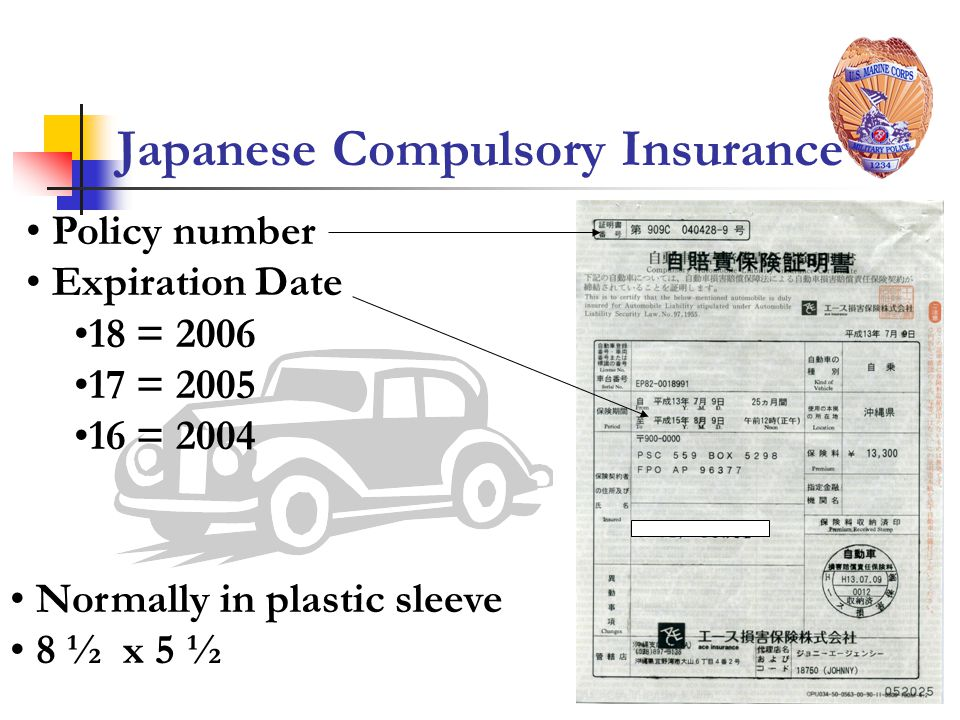 Japanese Compulsory Insurance Normally in plastic sleeve 8 ½ x 5 ½ Policy number Expiration Date 18 = 2006 17 = 2005 16 = 2004