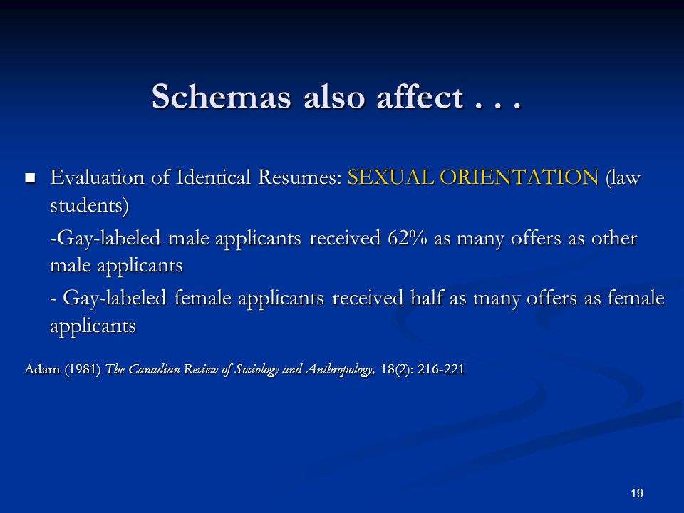 19 Schemas also affect...
