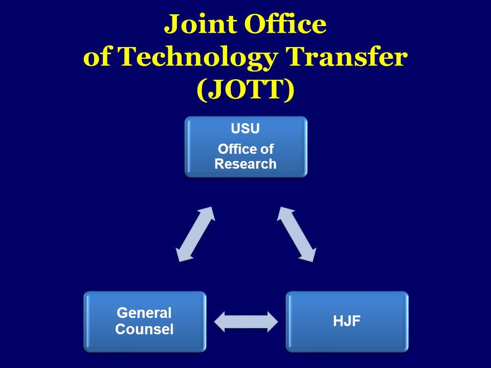 Joint Office of Technology Transfer (JOTT) USU Office of Research USU Office of Research HJF General Counsel