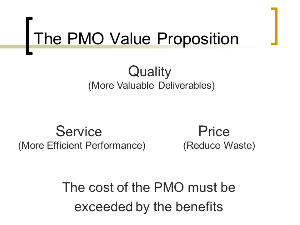 Styles of PMOs - Centralized One PMO office with a group of managers and services Every project includes a PM from the PMO Easier to manage and consolidate metrics Expertise may not be portable among projects