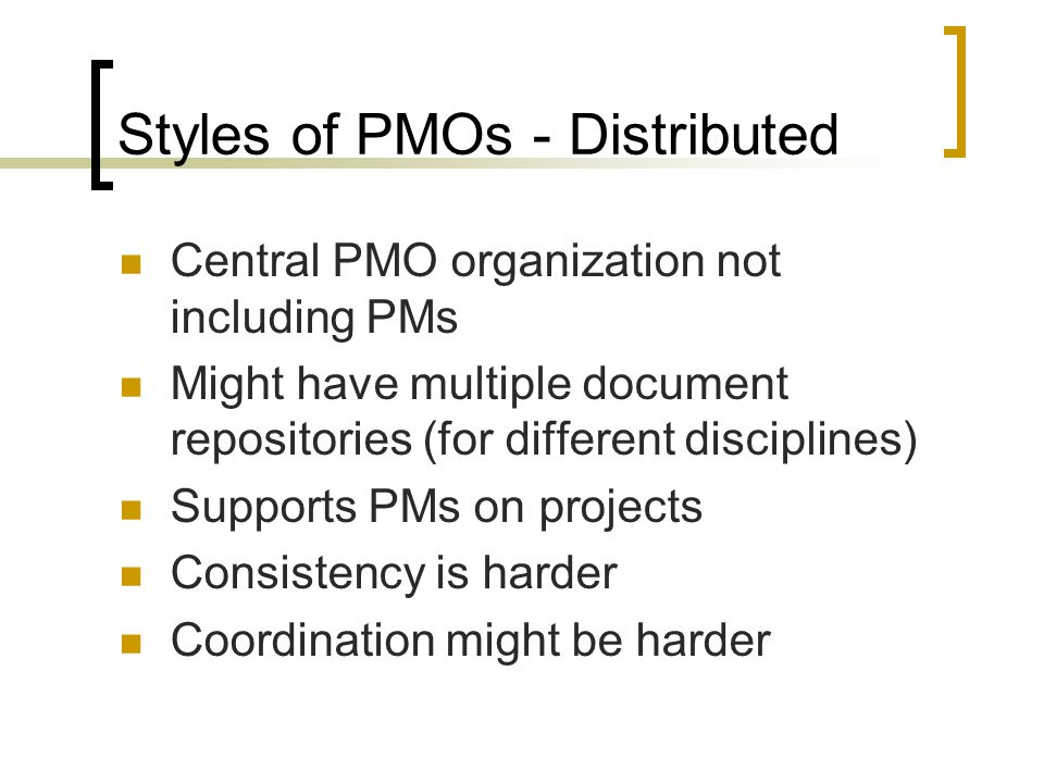 Components of a PMO Mission Strategy Sponsor Stakeholders Clients Objectives Products/Services Transitional Activities Building the PMO Staffing Procedures