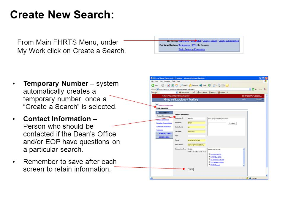 Create New Search: Temporary Number – system automatically creates a temporary number once a Create a Search is selected.