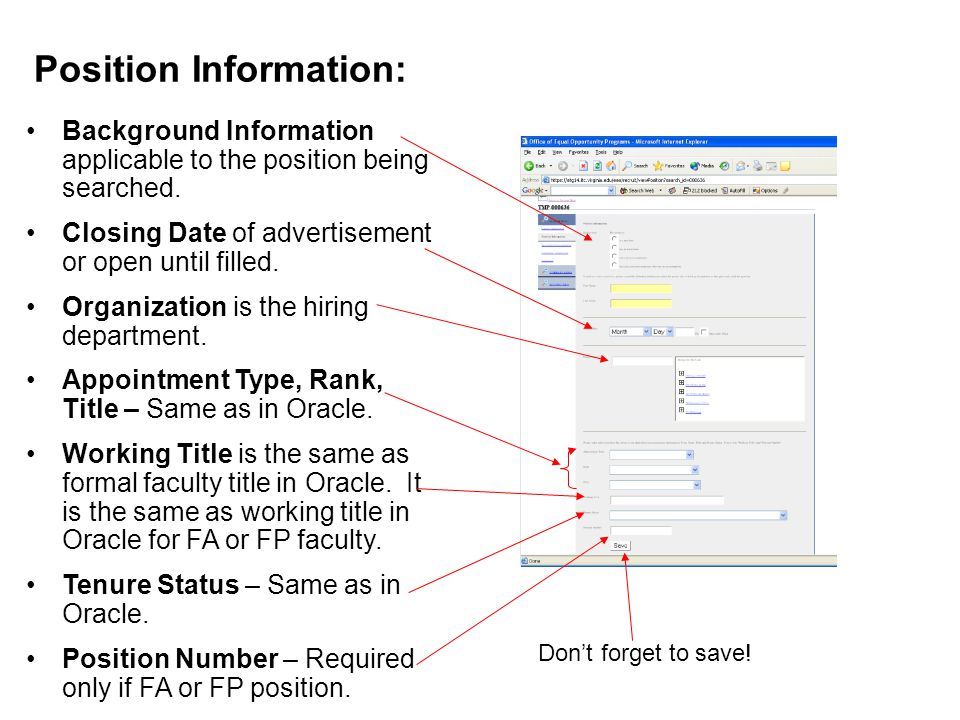 Position Information: Background Information applicable to the position being searched.