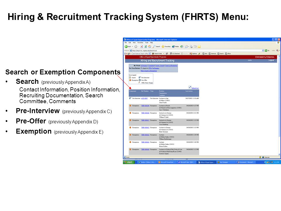 Hiring & Recruitment Tracking System (FHRTS) Menu: Search or Exemption Components Search (previously Appendix A) Contact Information, Position Information, Recruiting Documentation, Search Committee, Comments Pre-Interview (previously Appendix C) Pre-Offer (previously Appendix D) Exemption (previously Appendix E)
