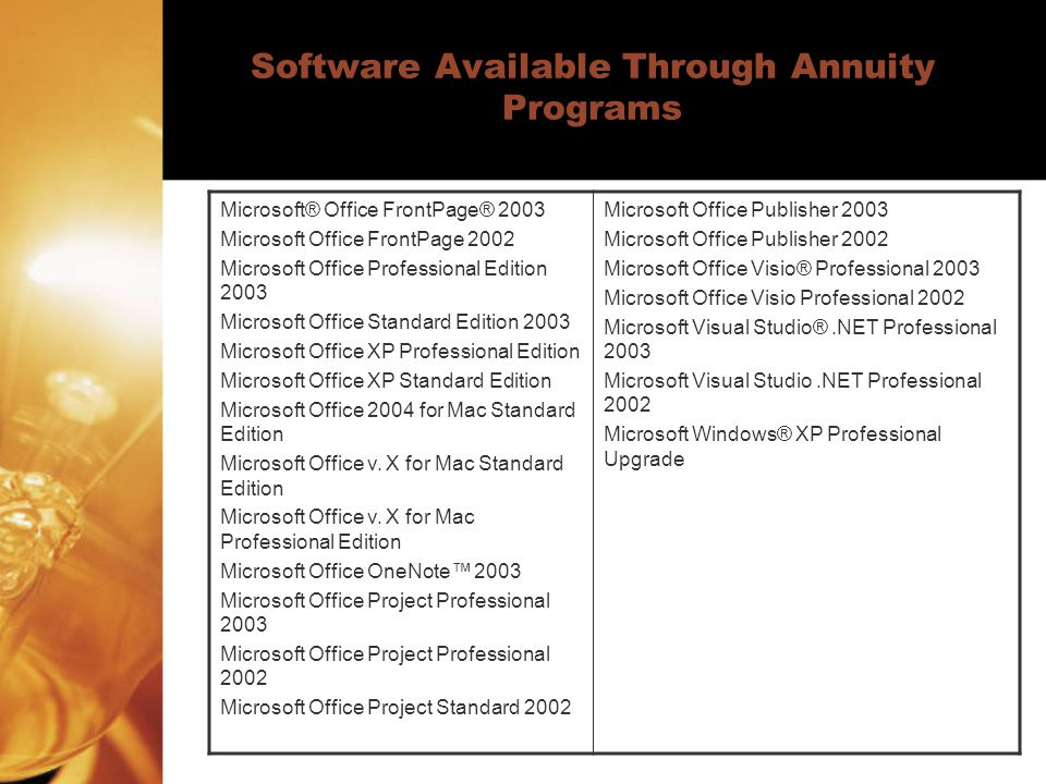 Software Available Through Annuity Programs Microsoft® Office FrontPage® 2003 Microsoft Office FrontPage 2002 Microsoft Office Professional Edition 2003 Microsoft Office Standard Edition 2003 Microsoft Office XP Professional Edition Microsoft Office XP Standard Edition Microsoft Office 2004 for Mac Standard Edition Microsoft Office v.