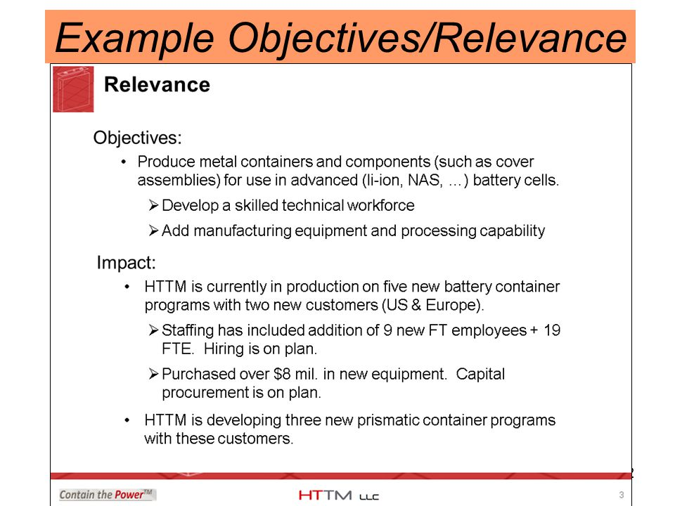 42 Example Objectives/Relevance