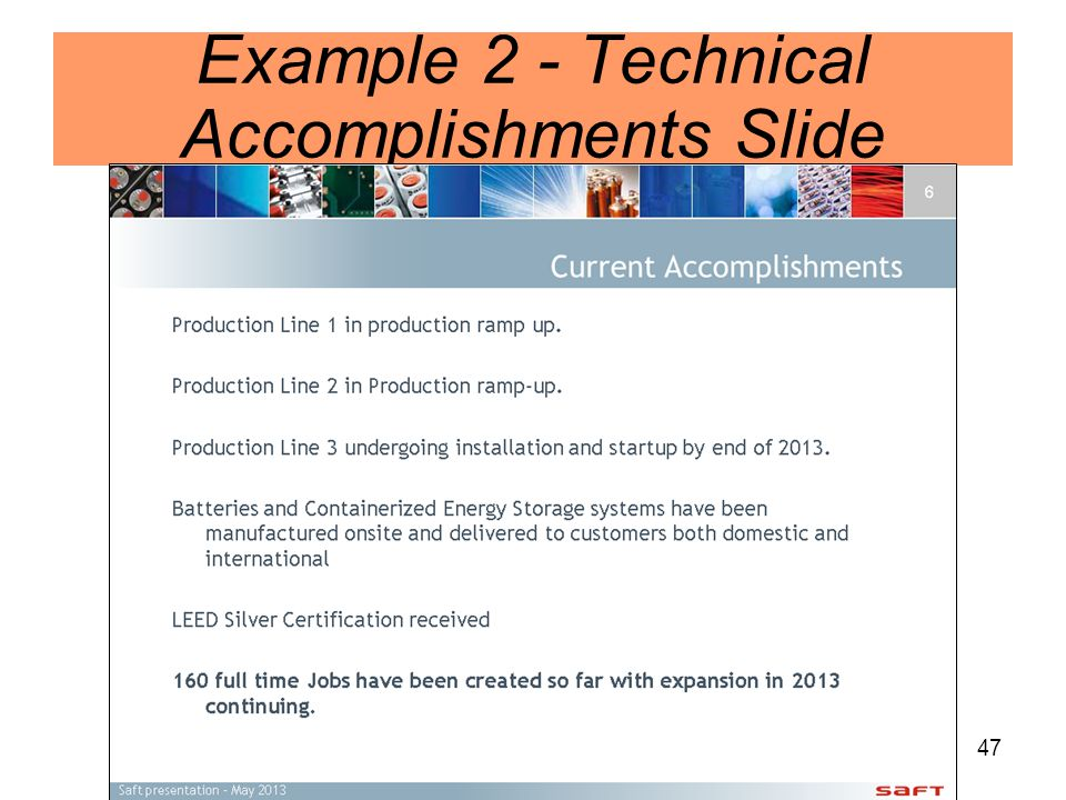 47 Example 2 - Technical Accomplishments Slide