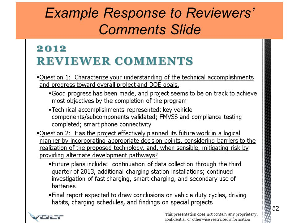 52 Example Response to Reviewers Comments Slide