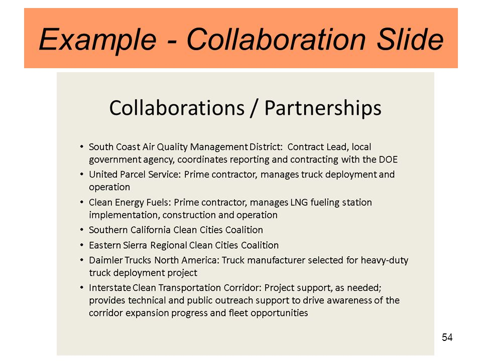 54 Example - Collaboration Slide