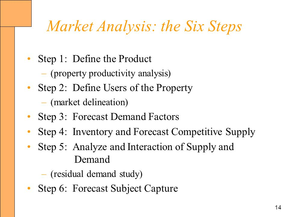 14 Market Analysis: the Six Steps Step 1: Define the Product –(property productivity analysis) Step 2: Define Users of the Property –(market delineation) Step 3: Forecast Demand Factors Step 4: Inventory and Forecast Competitive Supply Step 5: Analyze and Interaction of Supply and Demand –(residual demand study) Step 6: Forecast Subject Capture