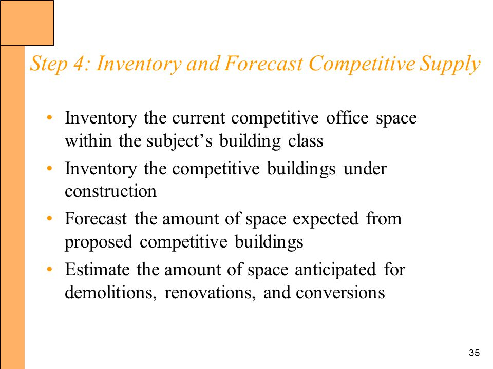35 Step 4: Inventory and Forecast Competitive Supply Inventory the current competitive office space within the subjects building class Inventory the competitive buildings under construction Forecast the amount of space expected from proposed competitive buildings Estimate the amount of space anticipated for demolitions, renovations, and conversions