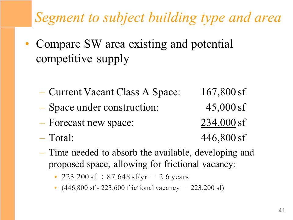 41 Segment to subject building type and area Compare SW area existing and potential competitive supply –Current Vacant Class A Space:167,800 sf –Space under construction: 45,000 sf –Forecast new space:234,000 sf –Total:446,800 sf –Time needed to absorb the available, developing and proposed space, allowing for frictional vacancy: 223,200 sf 87,648 sf/yr = 2.6 years (446,800 sf - 223,600 frictional vacancy = 223,200 sf)
