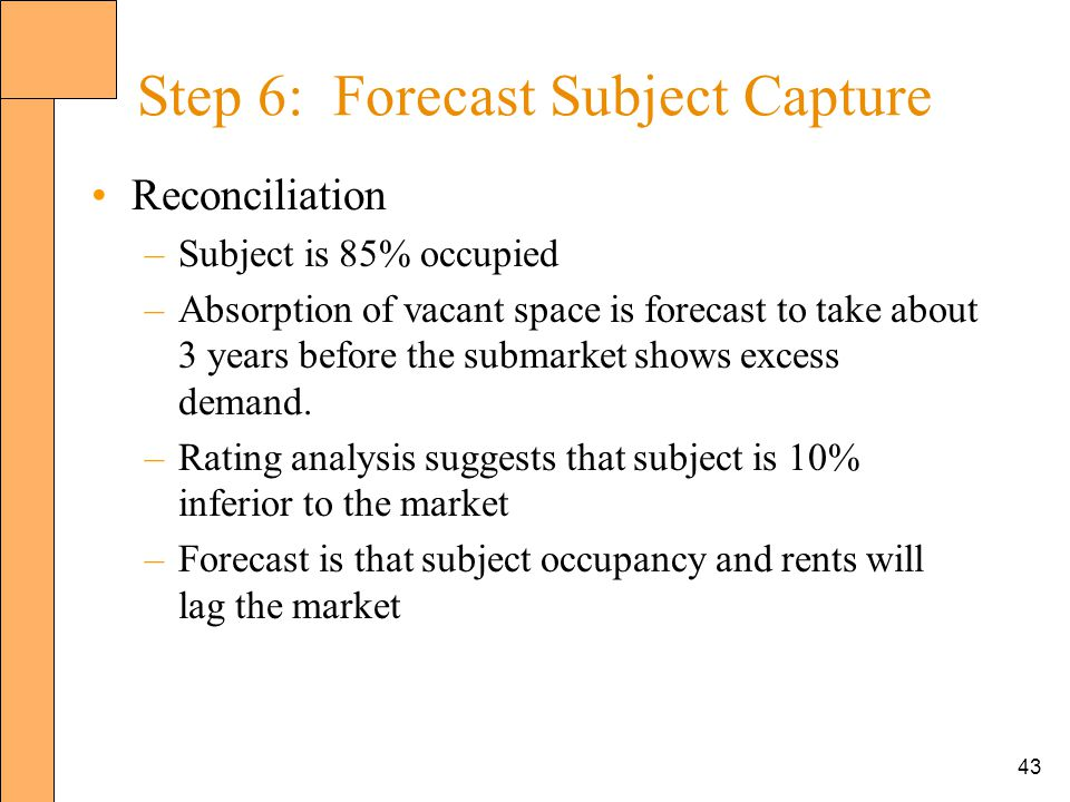 43 Step 6: Forecast Subject Capture Reconciliation –Subject is 85% occupied –Absorption of vacant space is forecast to take about 3 years before the submarket shows excess demand.