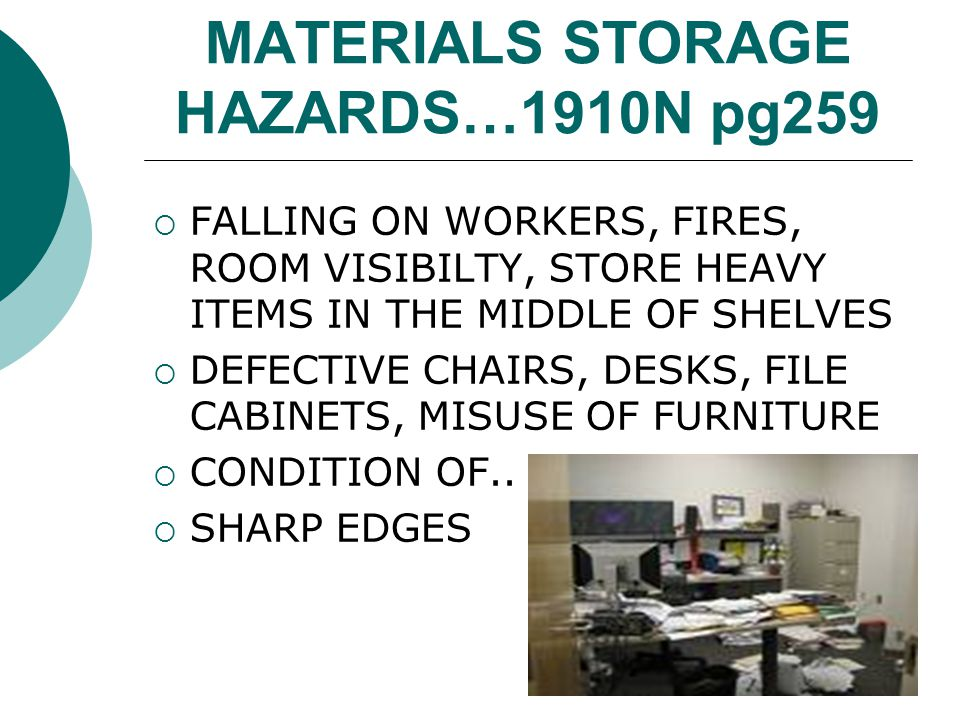 MATERIALS STORAGE HAZARDS…1910N pg259 FALLING ON WORKERS, FIRES, ROOM VISIBILTY, STORE HEAVY ITEMS IN THE MIDDLE OF SHELVES DEFECTIVE CHAIRS, DESKS, F