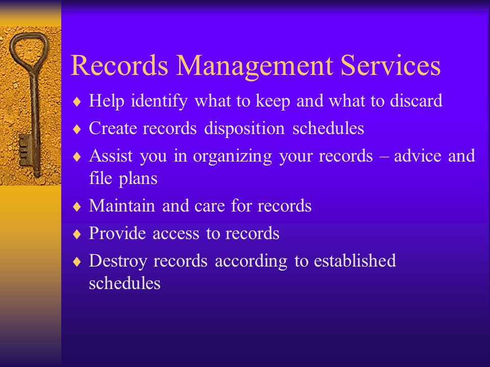 Discarding Records Three methods for discarding records –Discard/Destroy on-site –Send directly to a commercial shredding company –Transfer to SIAs Records Center to be destroyed Files with SSNs, personal contact information, account numbers, or other sensitive information must be destroyed (shredded) Electronic records containing sensitive information can be destroyed via OCIO