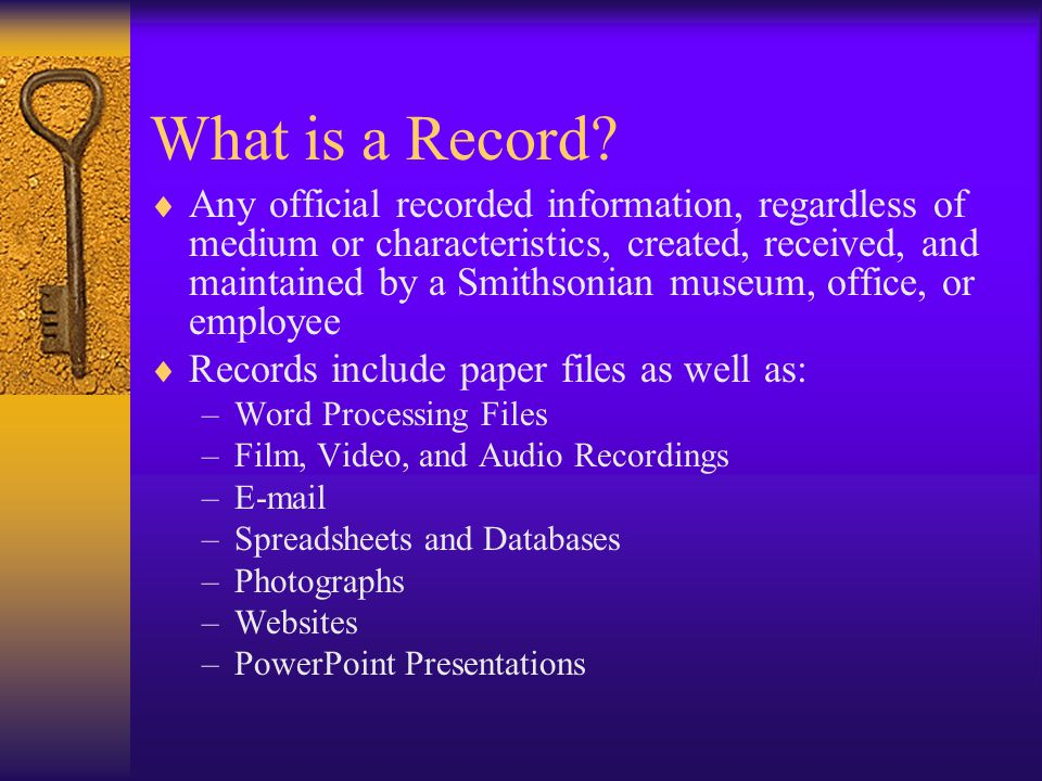 Appraising Records Decisions about which records to keep or discard are based upon: –Function of the office –Which records best document that function –Where the most complete set of those records are located –Existing guidelines established by SIA, other SI offices, or outside institutions Appraisal decisions are not based on media types