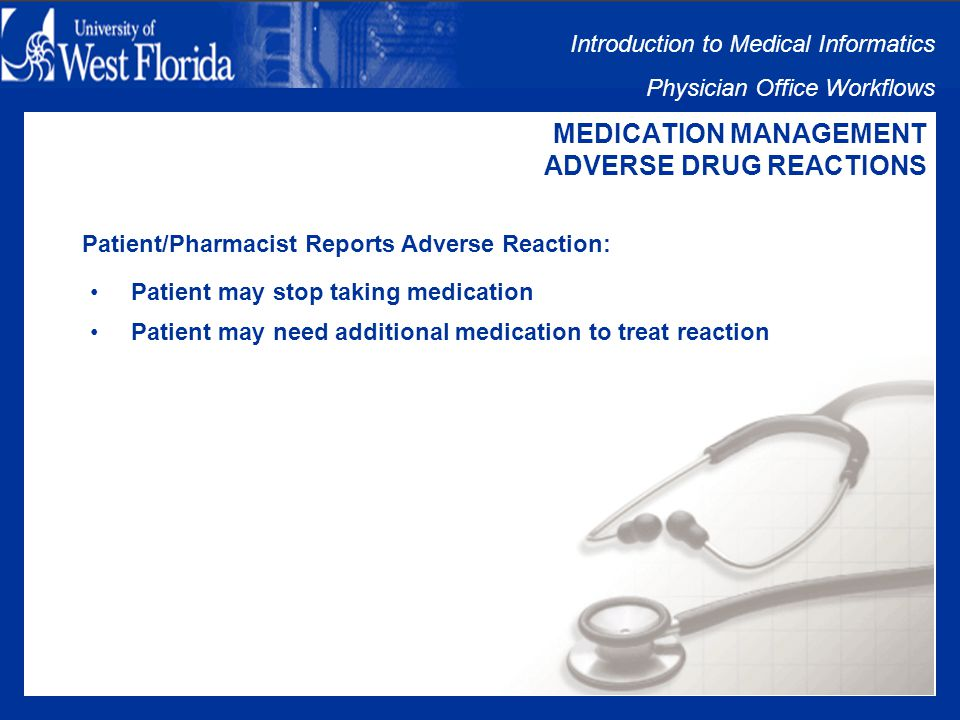 Introduction to Medical Informatics Physician Office Workflows MEDICATION MANAGEMENT ADVERSE DRUG REACTIONS Adverse Drug Reactions Issues: Patient/Pharmacist Reports Adverse Reaction