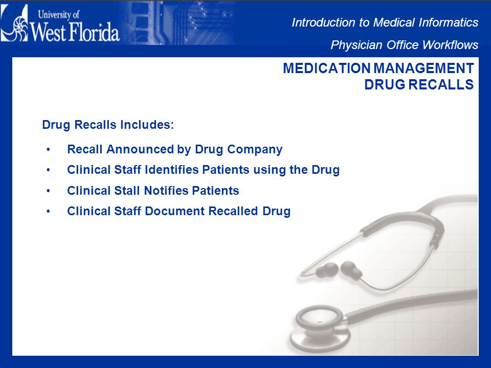 Introduction to Medical Informatics Physician Office Workflows MEDICATION MANAGEMENT ADVERSE DRUG REACTIONS Patient/Pharmacist Reports Adverse Reaction: Patient may stop taking medication Patient may need additional medication to treat reaction