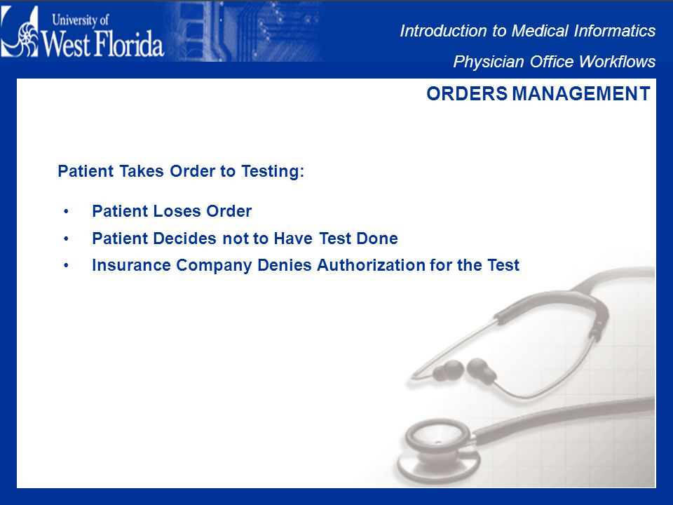 Introduction to Medical Informatics Physician Office Workflows ORDERS MANAGEMENT Orders Management Issues: Patient Takes Order to Testing Results Sent to Ordering Physician Clerical Staff Sorts Incoming Mail or Faxes Results Given to Ordering Physician Staff Notifies Patient