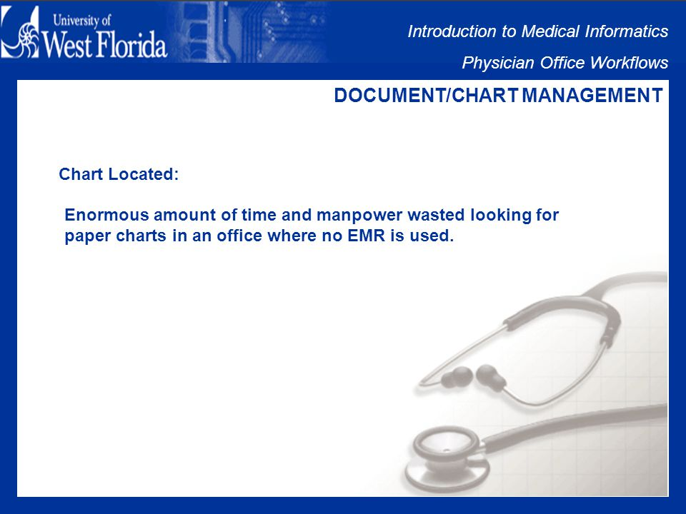 Introduction to Medical Informatics Physician Office Workflows DOCUMENT/CHART MANAGEMENT Staff Performs Follow-Up: Time Constraints between Scheduled Patients Unable to Return Calls until Late Afternoon/Evening