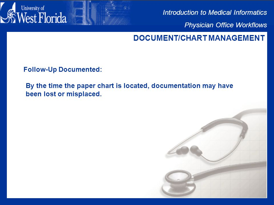 Introduction to Medical Informatics Physician Office Workflows DOCUMENT/CHART MANAGEMENT Chart Located: Enormous amount of time and manpower wasted looking for paper charts in an office where no EMR is used.
