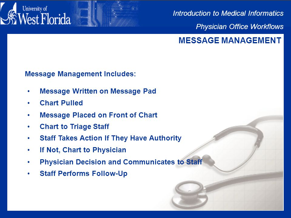 Introduction to Medical Informatics Physician Office Workflows DOCUMENT/CHART MANAGEMENT Follow-Up Documented: By the time the paper chart is located, documentation may have been lost or misplaced.