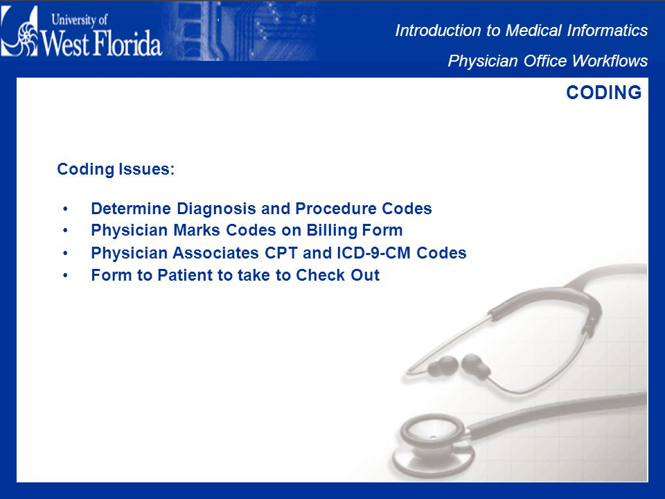 Introduction to Medical Informatics Physician Office Workflows CODING Coding Includes: Determine Diagnosis and Procedure Codes Physician Marks Codes on Billing Form Physician Associates CPT and ICD-9-CM Codes Form to Patient to take to Check Out