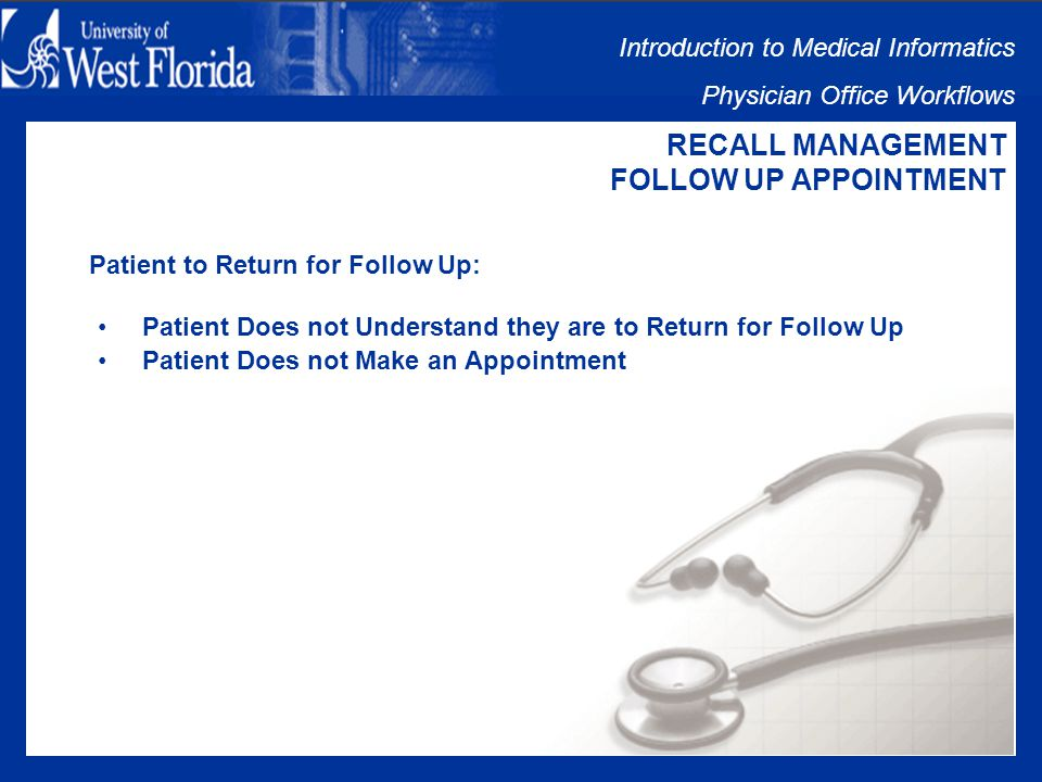 Introduction to Medical Informatics Physician Office Workflows RECALL MANAGEMENT FOLLOW UP APPOINTMENT Follow Up Appointment Issues: Patient to Return for Follow Up Patient Makes Appointment Patient Keeps Appointment