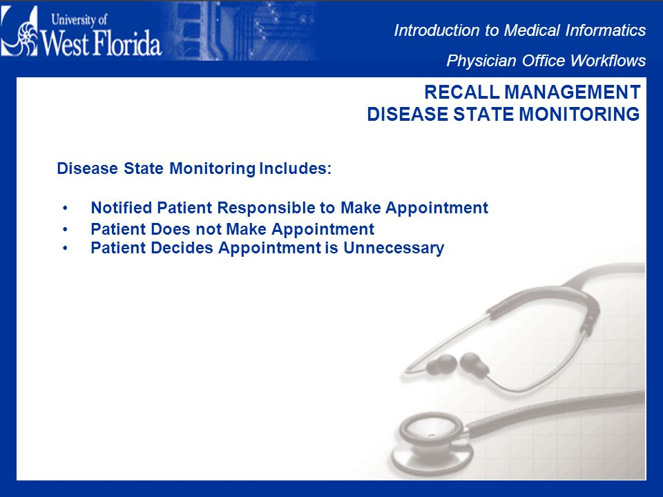 Introduction to Medical Informatics Physician Office Workflows RECALL MANAGEMENT DISEASE STATE MONITORING Clinical Staff Notify Patients: Phone Call to Patients Letter to Patients
